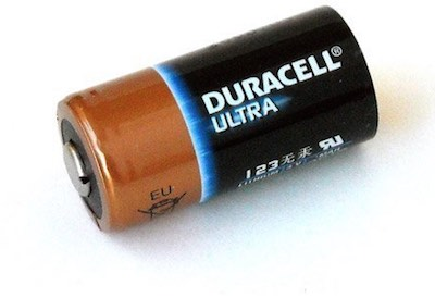 A Duracell CR123A lithium battery